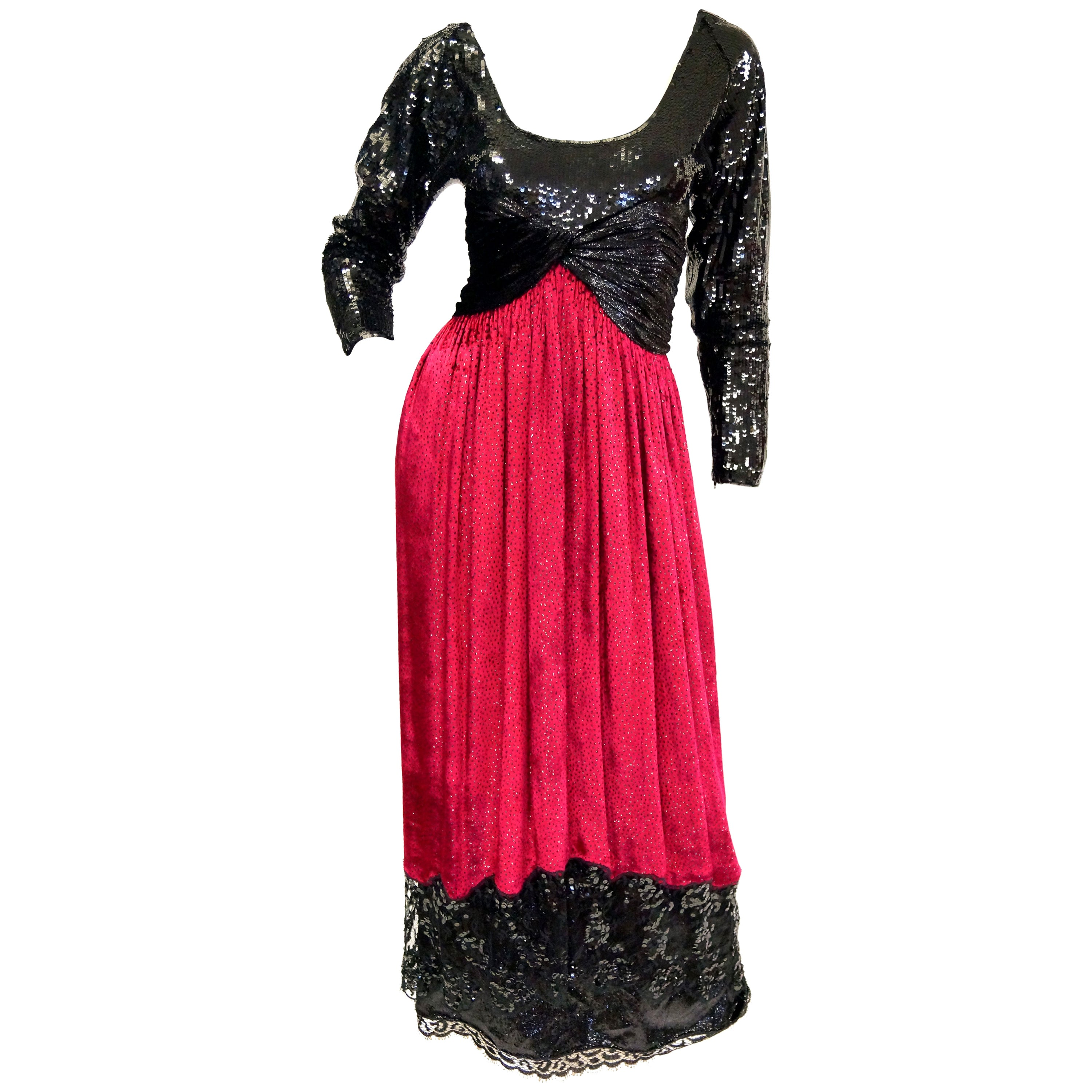 1980s Geoffrey Beene Black and Red Sequin, Lace, and Velvet Evening Dress 2
