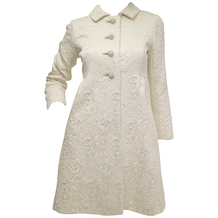 Sublime 1960s Ivory Quilted Brocade Coat with Rhinestone Buttons
