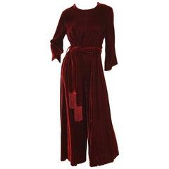 1960s Burgundy Velvet Palazzo Jumpsuit with Fringe Belt