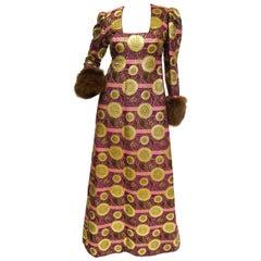 1960s Mr. Blackwell Fur Cuff Gold and Purple Brocade Evening Dress