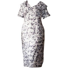 Ceil Chapman grey and white floral dress in larger size