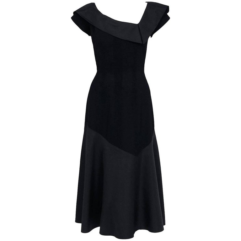 1950's Pauline Trigere Black Wool & Silk Asymmetric Flounce Cocktail Dress