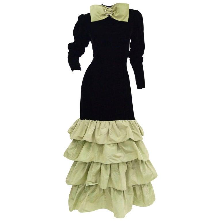 Givenchy Black Velvet and Green Taffeta Silk Bow Evening Dress, 1980s  For Sale