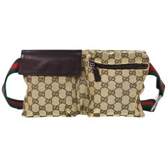 Gucci Brown Monogram Double Pouch Waist/ Belt Bag w. Web