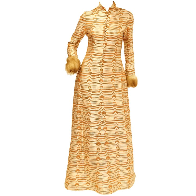 Oscar de la Renta Couture Gold Evening Dress with Fur Cuffs, 1970s  For Sale