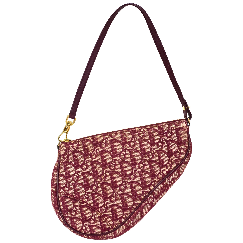 Christian Dior Red Mini Diorissimo Saddle Bag For Sale