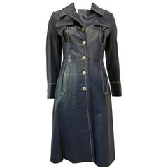 1970s Navy Leather Contrast Stitch Trench Coat