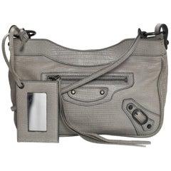 Balenciaga Dove Grey Embossed Lizard Classic Hip Crossbody Bag