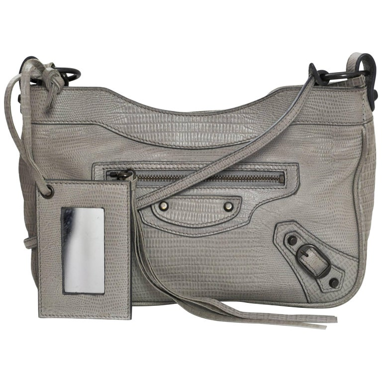 Balenciaga Dove Grey Embossed Lizard Classic Hip Crossbody Bag