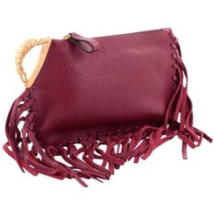 Valentino C-Rockee Scarab Fringe Clutch Leather Small
