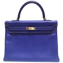 Hermes Kelly - 35 - Electric Blue - New