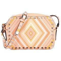 Valentino Rockstud 1975 Camera Crossbody Bag Striped Leather