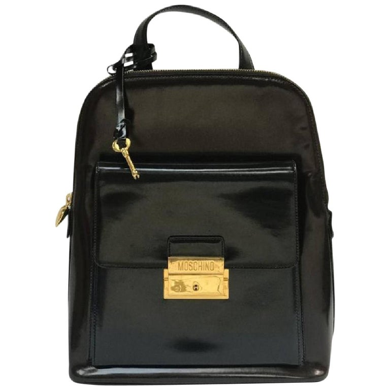 Moschino Black and Brown Backpack