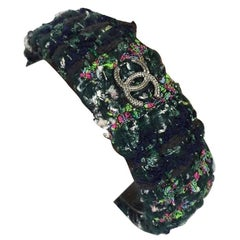 Chanel Flannel Green Tweed Plaid Cuff