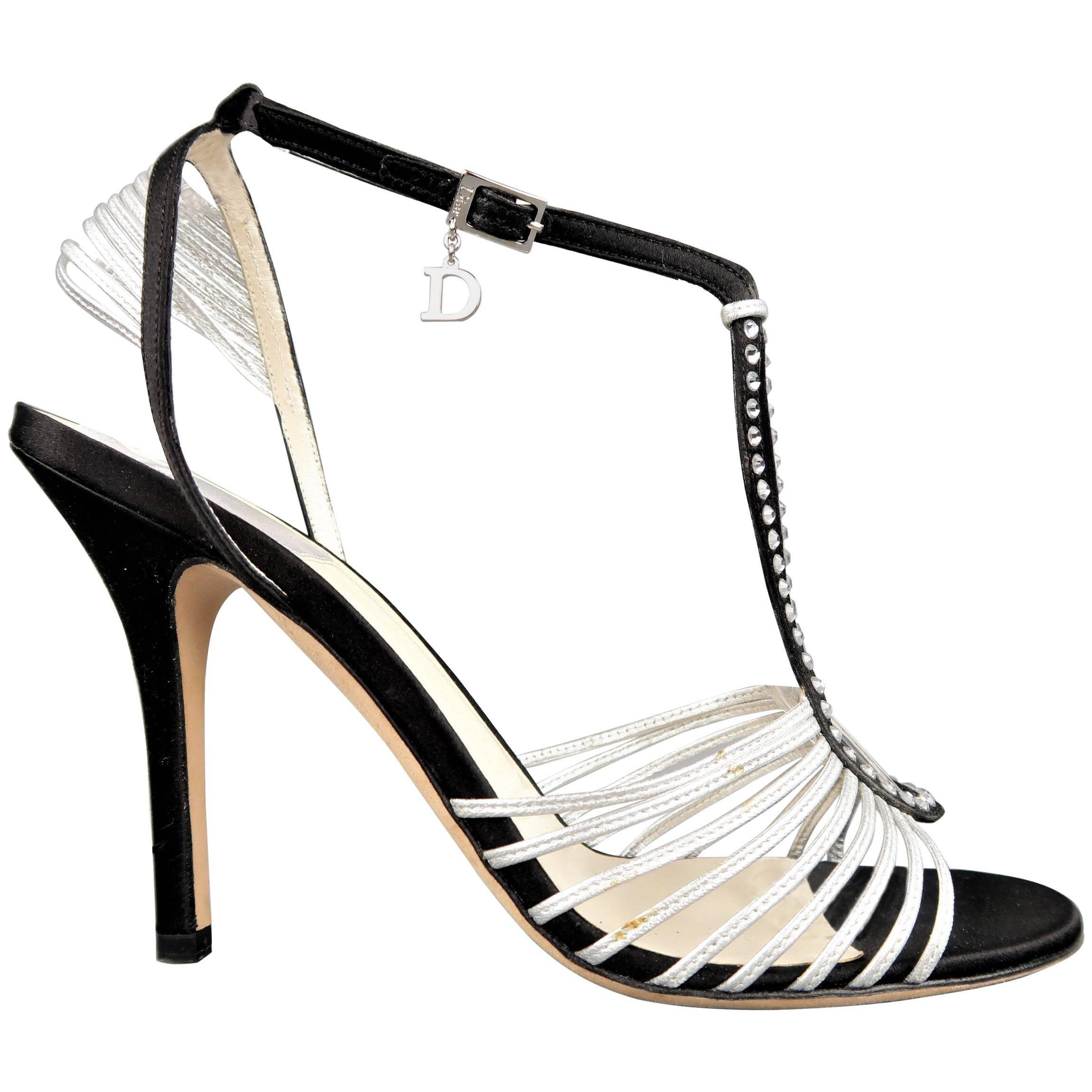 CHRISTIAN DIOR Size 9.5 Black & Silver Silk & Leather Rhinestone T Strap Sandals