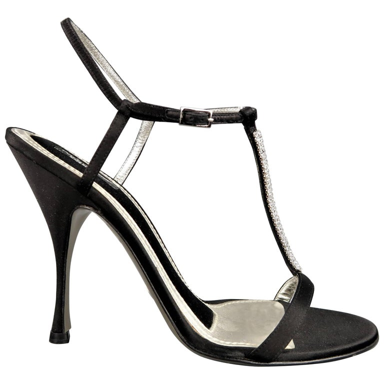 DOLCE & GABBANA 10 Black Silk & Leather Rhinestone T Strap Ankle Harness Sandals