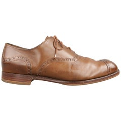 Men's BARKER BLACK Size 11.5 Brown Perforated Leather CLIFTON Cap Toe Lace Up