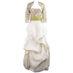Monique Lhuillier Size 10 Cream Gold Green Lace Bodice Bolero Gown