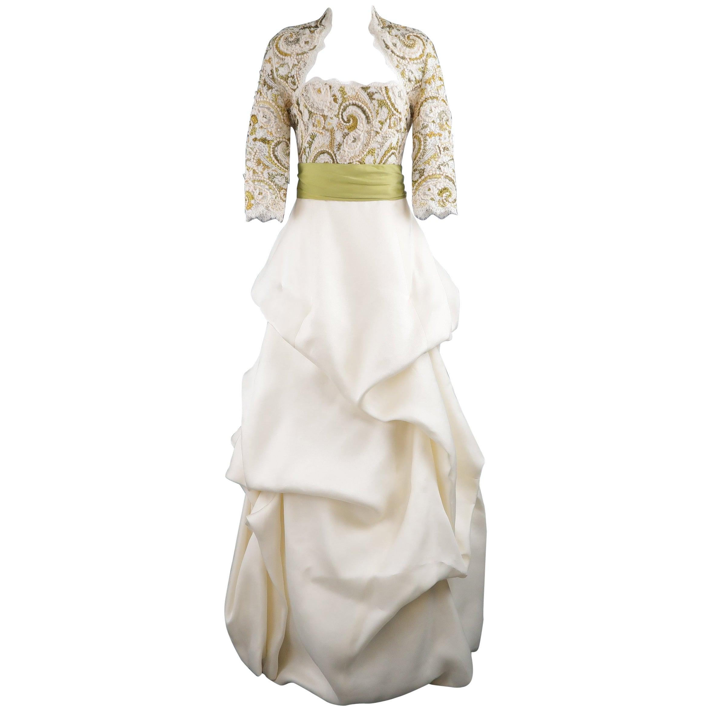 Monique Lhuillier Gown Dress Cream Gold Green Lace Bodice Bolero