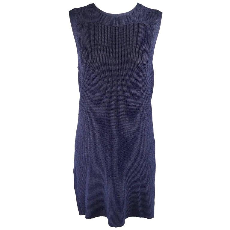 RALPH LAUREN Collection Size M Navy Silk Blend Sleeveless Long Sweater Vest Top