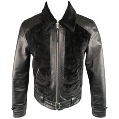 Alexander McQueen Men's Size 38 Black Leather and Shearling Jacket