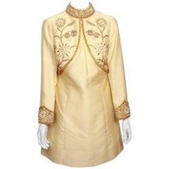 1960's Vintage Jewel Encrusted Pale Gold Heavy Thai Silk Dress