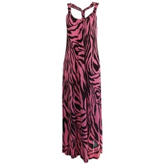 Silk jersey animal print Boho luxury maxi dress with pockets NWT