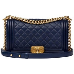 Chanel Navy Quilted Lambskin Medium Le Boy Bag