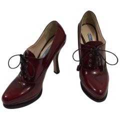Prada Platform Lace Ups in Burgundy