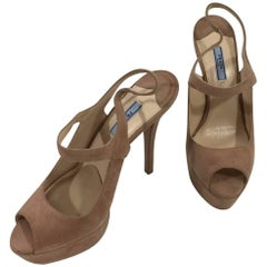 Prada Beige Suede Platform Stiletto High Heeled Shoes