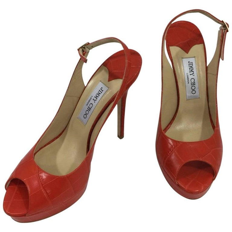 Jimmy Choo Slingback Faux Skin Stiletto Heels In Orange