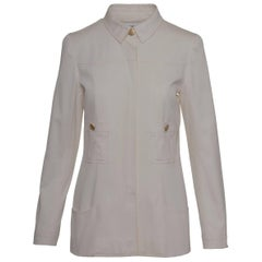 Chanel Cream Trench Coat With Fly Front