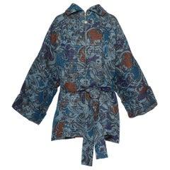 Gianfranco Ferre Green Oversize Striped Quilted Kimono Coat Jacket, 1990s