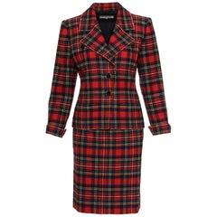 1980s YVES SAINT LAURENT Rive Gauche Tartan Suit Skirt