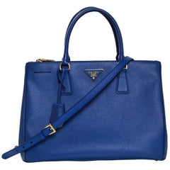 Prada Blue Medium Galleria Saffiano Leather Tote Bag w/ Strap