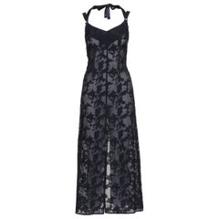 John Richmond Black Sheer Dress with organic pattern