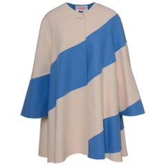 Laura Biagiotti White And Blue Sky Patchwork Oversize Tent Coat,  1990s