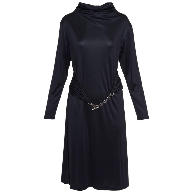 Hermes Black Jersey Dress With Chain Belt