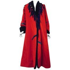 Sensational SFR Red Faux Fur Oversized Long Coat Purple Leather Fringe Closure