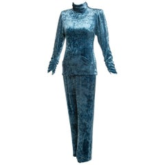 1980s Galanos Couture Blue Velvet Evening Tunic Top Pants Suit