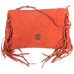 Roberto Cavalli Womens Orange Suede Leather Fringe Edge Handbag