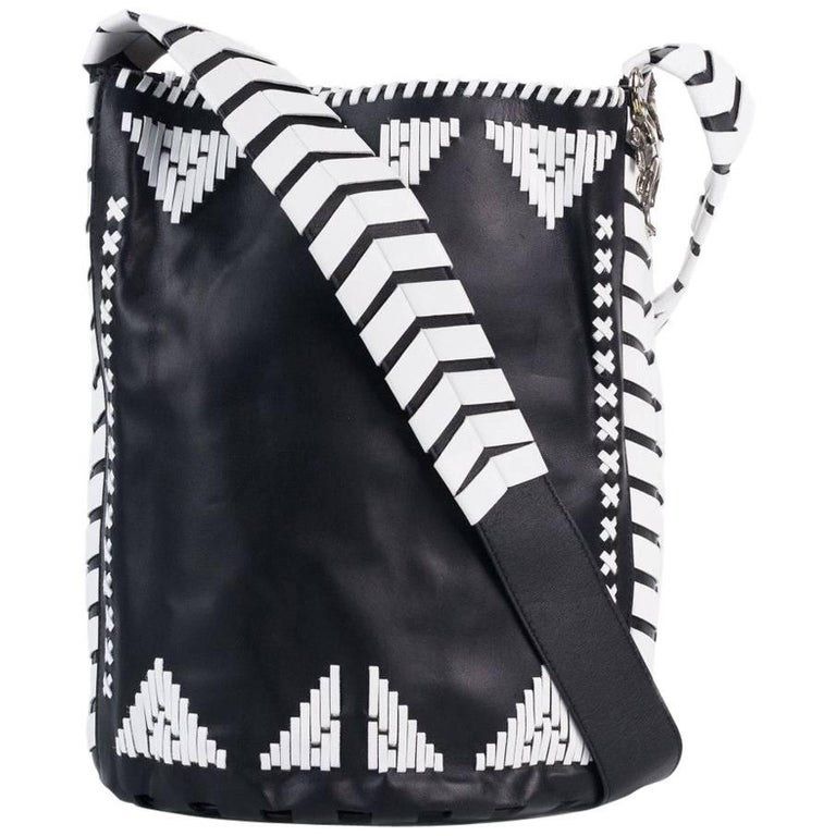 Roberto Cavalli Womens Black Leather White Tribal Stitched Hobo Bag
