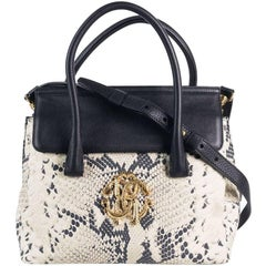 Roberto Cavalli Womens Black Leather Grey Suede Snakeskin Print Handbag