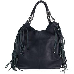 Roberto Cavalli Women Black Leather Chain Strap Fringe Edge Shoulder Bag