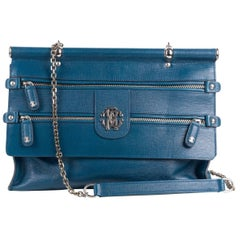 Roberto Cavalli Women's Blue Zippered Front Grande Doctor Satchel