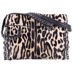 Roberto Cavalli Womens Cheetah Print Pony Hair Black Leather Handbag