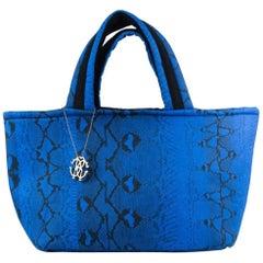 Roberto Cavalli Womens Blue Snake Printed Large Flat Strap Shopper Tote~RTL$506