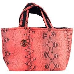 Roberto Cavalli Womens Coral Snake Printed Large Flat Strap Shopper Tote