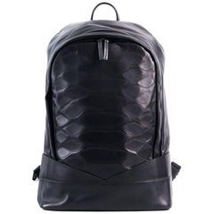 Roberto Cavalli Womens Black Leather Zip Around Python Scale Backpack