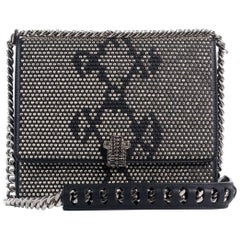 Roberto Cavalli Women's Small Black Leather Gunmetal Stud Shoulder Bag